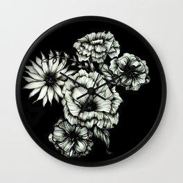 Black Floral Ink III Wall Clock