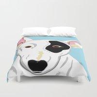 bull terrier Duvet Covers featuring Bull Terrier by EloiseArt