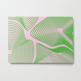 Wavy green lines on pink background Metal Print