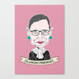 Ruth Bader Ginsburg The Notorious RBG Flaming Feminist Canvas Print
