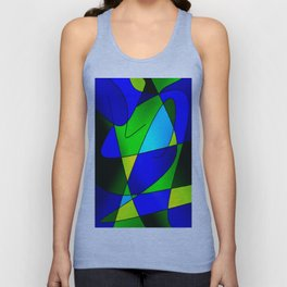 ABSTRACT CURVES #2 (Blues & Greens) Unisex Tank Top