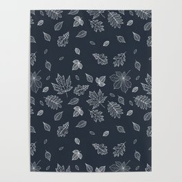 Pastel navy blue white hand painted autumn leaves Poster
