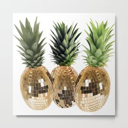 Disco pineapple Metal Print