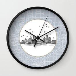 Detroit, Michigan City Skyline Illustration Drawing Wall Clock