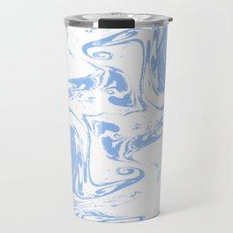 Marbled spilled ink suminagashi japanese marble blue pastel pattern swirl ocean topography Travel Mug