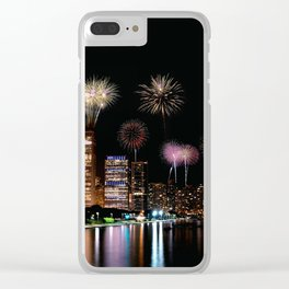 Chicago night skyline with fireworks. Clear iPhone Case