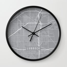 Lubbock Map, Texas USA - Pewter Wall Clock