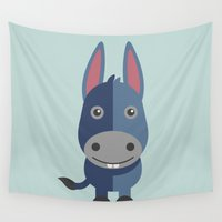 donkey Wall Tapestries featuring BABY DONKEY by akaink