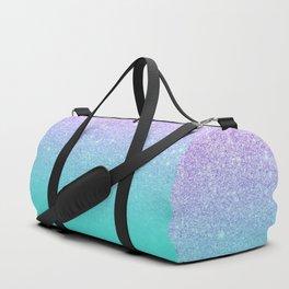Modern mermaid lavender glitter turquoise ombre pattern Duffle Bag