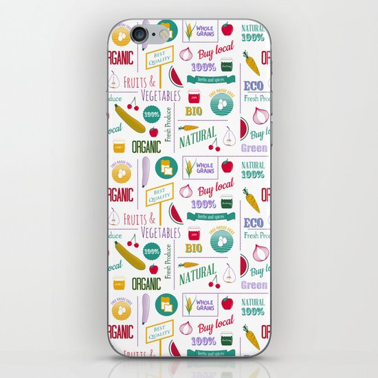 Farmers market pattern - white iPhone & iPod Skin