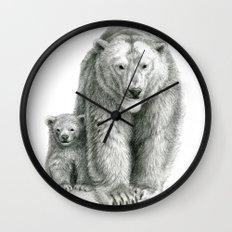 Polar bear and cub SK041 Wall Clock
