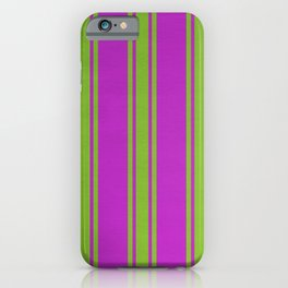 Yellow lines on a pink background iPhone Case