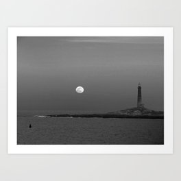 Black and white Moon over Thacher Island Art Print