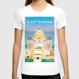 Cartagena, Columbia - Skyline Illustration by Loose Petals T-shirt