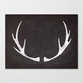 Chalkboard Art - Antlers Canvas Print