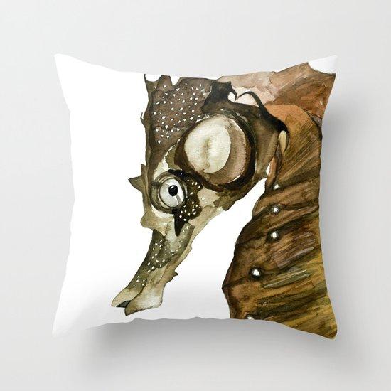 Ocean Treasures No.1 Seahorse Watercolor Throw Pillow