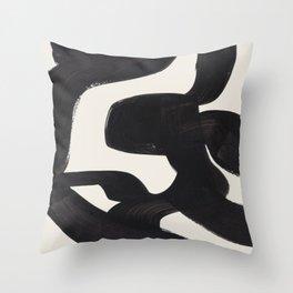 Mid Century Modern Minimalist Abstract Art Brush Strokes Black & White Ink Art Maze Throw Pillow