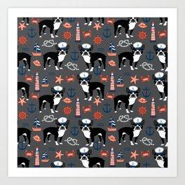 Boston Terrier nautical sailing lighthouse sailor pattern terriers dog breed Art Print