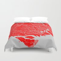 singapore Duvet Covers featuring SINGAPORE CITY MAP by jonthearchitect