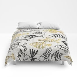 Inked Fish – Black & Gold Comforters