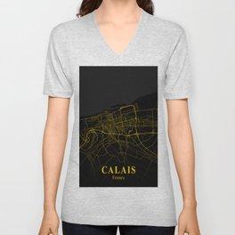 Calais - France Gold City Map Unisex V-Neck
