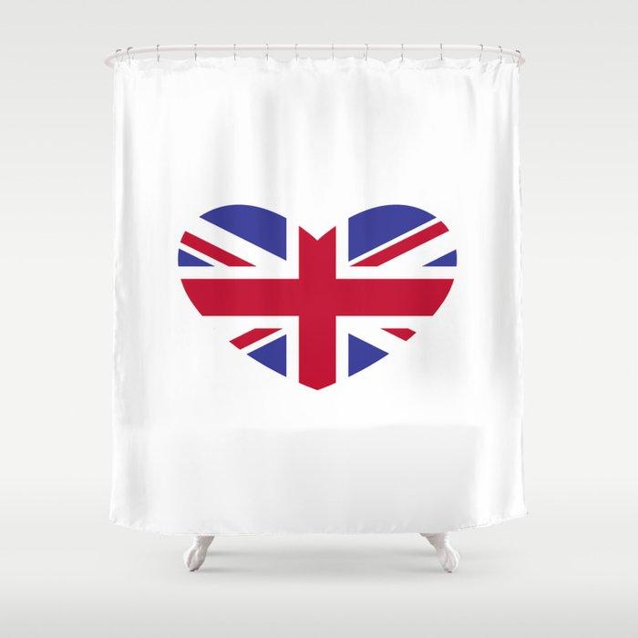 Union Jack Heart Shower Curtain by mborgali