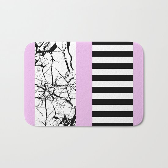 Stripes N Marble 2 - Black and white stripes and marble patterns on a pastel pink background Bath Mat