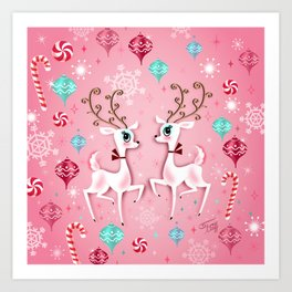 Cute Christmas Reindeer Art Print
