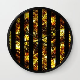 Golden Stripes - Abstract, black and gold, metallic, textured, stripy pattern Wall Clock
