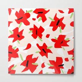 Scarlet Floral Metal Print