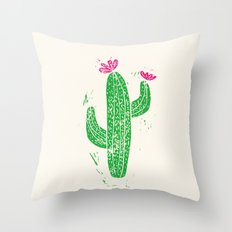 Linocut Cactus #2 Throw Pillow