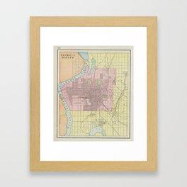 Vintage Map of Council Bluffs IA (1901) Framed Art Print
