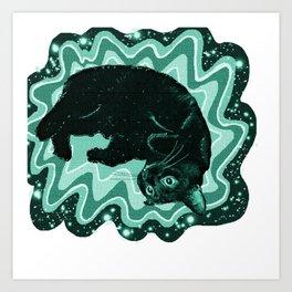 Cat-Nipped in Teal Art Print