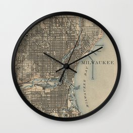 Vintage Map of Milwaukee Wisconsin (1899) Wall Clock