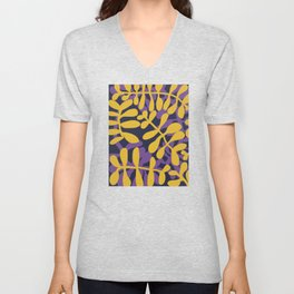 Yellow and purple fern pattern Unisex V-Neck