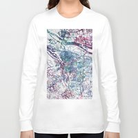 portland Long Sleeve T-shirts featuring Portland map by MapMapMaps.Watercolors