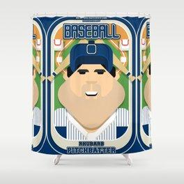 Baseball Blue Pinstripes - Rhubarb Pitchbatter - Victor version Shower Curtain
