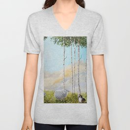 Afternoon on the Hill Birch Tree Painting Unisex V-Neck