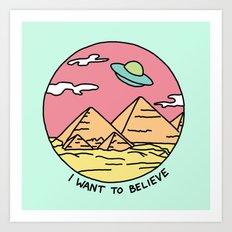 Ancient Aliens Pyramids Funny UFO Eyptian 90s Print Art Print