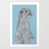 otter Art Prints featuring Otter by caseysplace