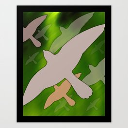 Flock over Purple Sky Art Print