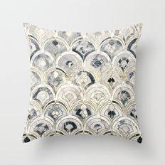 Monochrome Art Deco Marble Tiles Throw Pillow