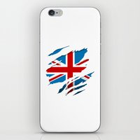 british flag iPhone & iPod Skins featuring British Flag Pride by northside