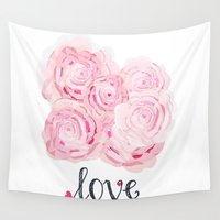 shabby chic Wall Tapestries featuring Shabby Chic Rose Bouqet by KarenHarveyCox