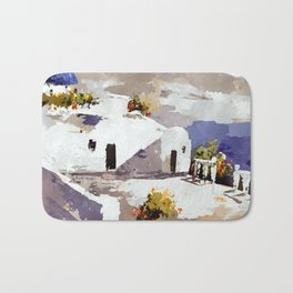 Greek Island Patio Scene Bath Mat
