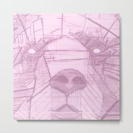 Pink Bear Face Metal Print