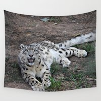 snow leopard Wall Tapestries featuring Snow Leopard by Kaleena Kollmeier