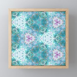 Pink Turquoise Mosaic - Abstract Geometric Art by Fluid Nature Framed Mini Art Print