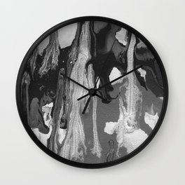 Black And White Marble Drips Wall Clock