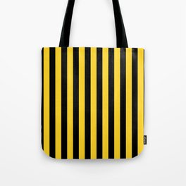 Yellow and Black Honey Bee Vertical Beach Hut Stripes Tote Bag